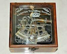 Antique Brass Sextant Maritime Nautical Astrolabe Glasstop Wood Box Collectible