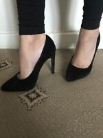 Brand New Fusion Black Suede Slim Heels Pointed Court Shoes - Size 3