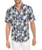 Alfani Mens Shirt White Blue Green Medium M Button Down Abstract Floral $55 248