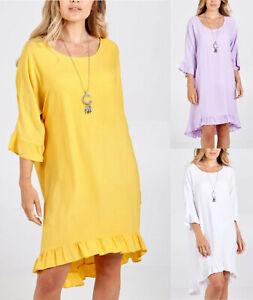 Ladies Womens Italian Lagenlook Oversized Frill Hem Tunic Necklace Top Dress