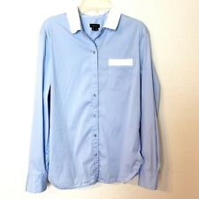 Theory Womens Top Button Down Front Pocket Career Blue Size Medium