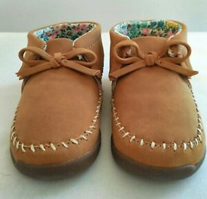 New Carter's Every Step Girl's Khaki Moccasin Shoes Sz 5, 12-18M, Stage 3 Walk