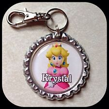 PERSONALIZED Name PRINCESS PEACH Bottle Cap Pendant Zipper Pull Clip ID Necklace