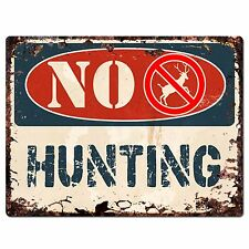 PP1371 NO HUNTING Plate Rustic Chic Sign Home Store Shop Decor Gift