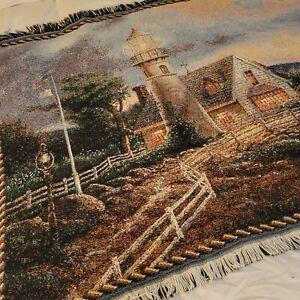 "Thomas Kinkade Painter of Light Tapestry Throw Blanket 67"" x 46"" USA EUC"
