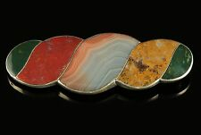 ANTIQUE VICTORIAN SCOTTISH AGATE PLAID BROOCH STERLING SILVER