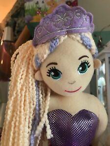 "~❤️~MERMAID DOLL Plush Soft Medium 45cms 18"" Sequinned Toy Soft Purple LOLA~❤️~"