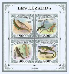 Togo - 2021 Lizards, Gecko, European Green - 4 Stamp Sheet - TG210112a