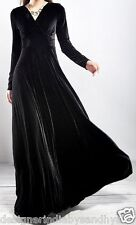 Black Long Velvet Party Formal Evening womens Maxi ladies Dress Prom Gown L M XL