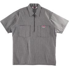 Ben Davis Short Sleeve Half Zip Work Shirt Stripe Brown