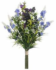 Artificial Purple Heather & Wild Flower Bunch Plant White Blue NEW AF-FSL313-LV