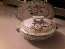 Vintage Childs Toy size Covered Serving Dish And Platter Japan Floral pattern