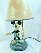 Rare Mickey Mouse Animated Talking Lamp Black and Grey 15.5 inches tall Disney
