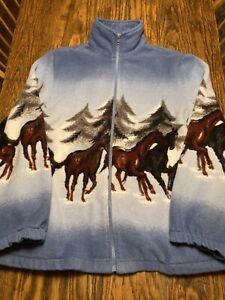 Vintage BLAIR HORSES Trees Graphic All Over Print FLEECE Full Zip Jacket Med EXC