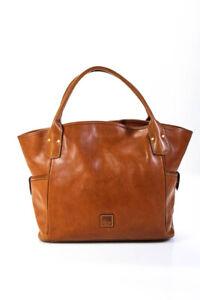 Dooney & Bourke Womens Leather Solid Shopper Style Large Satchel Handbag Brown