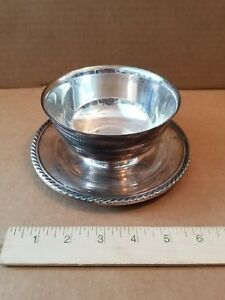 Gorham Rope Edge Silverplate Sauce Gravy Boat with Attached Underplate - YC1274