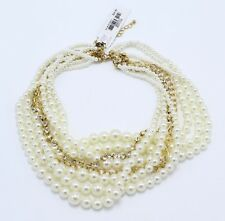 New Multi Strand Simulated Pearl Necklace with Rhinestones nwt #N2661