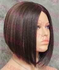 Brown/Blonde Mix Short Angled Bob Lace Hair Part Heat OK Synthetic Wig SAIZ 4/27