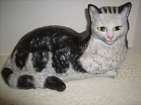 Vintage Cat Ceramic Red Clay Pottery Large Black/Gray Persian Portugal