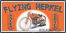 FLYING MERKEL MOTORCYCLE OLD SCHOOL SIGN REMAKE BANNER SHOP GARAGE ART 2 X 4