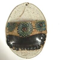 Vintage Wall Pocket Pottery Hand Painted Rustic Planter Flower Speckled Brown