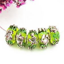 5pcs MURANO Lampwork charm Beads fit 925 silver European Bracelet Chain a556