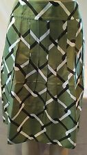 Banana Republic Green Pleated Chain Link Lined Silk Skirt  Sz 10