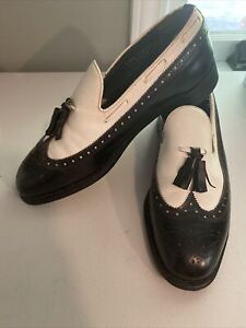 Rare Stewart Maguire black and white wingtip tassel dress shoes size 9.5?