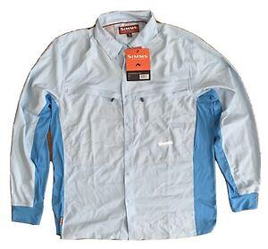 Simms Intruder BiComp Long Sleeve Fishing Shirt Men's Large Blue Brand New NWT
