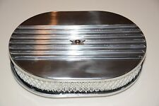 "12"" Polished Aluminum Nostalgia Half Finned Oval Air Cleaner street rod filter"