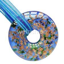 Circle Blue Gold Handmade Lampwork Murano Glass Bead Pendant Ribbon Necklace