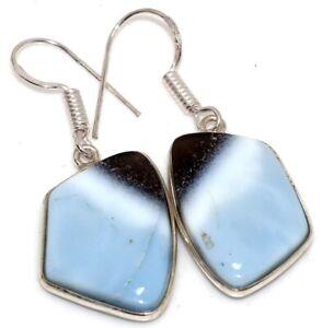 """Owhyee Blue Opal 925 Silver Plated Gemstone Handmade Earrings 1.6"""" Jewelry GW"""