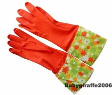 Red Rubber Washing Up Gloves with Extra Long Flower Printed Cuffs