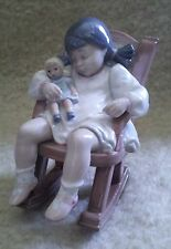 Vintage Lladro Figurine - Naptime - 5448 Girl Asleep in Rocking Chair- 01005448