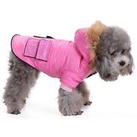 "Dog Parka Coat Warm Winter Fur Hoody 14"" Dog Puppy Hooded Coats Pink & Black NEW"