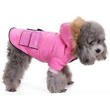 """Perro Parka Abrigo Abrigado de Invierno Piel Con Capucha 16"""" Perro Cachorro con capucha abrigos rosa y negro NUEVO"""