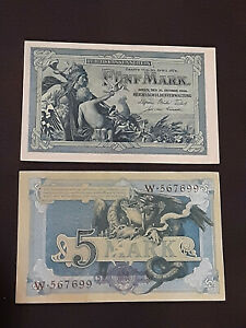VERY RARE!!! 2 Germany Empire 5 Mark, 1904, consecutive Serial numbers !!!!!!!!!