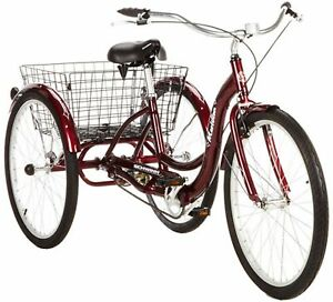 "Adult Tricycle Schwinn 3 Wheel Commuting Bike Trike 26"" 1 Speed Easy Ride Red"