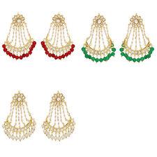 Jwellmart Indian Traditional Bollywood Kundan Chandbali Jhoomer Pearl Earrings