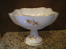Vintage Limoges France Pedestal Candy Nut Dish Compote Floral White Gold Rust