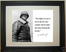 """George S. Patton """"object of war"""" Quote World War 2 WWII Framed Photo Picture"""