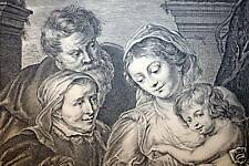 "Rubens ""Deliciae Meae..."" Family w/ Child Antique Print"