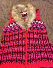 Gorgeous H&M Aztec fur collar Waistcoat jumper Jacket Coat Size M Gillet 💚