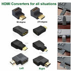 HDMI Male to Female Extension Angle Flat Adapter Mini Micro HDMI Cable Connector