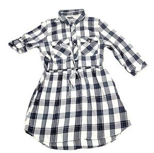 Girl Krazy Shirt Dress Womens Size L Roll Up Sleeve Waist Drawstring Plaid