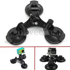Car Triple Suction Cup Mount Holder Stand Low Angle For GoPro SJCAM Xiaomi YI 4K