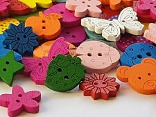 30 Mixed Wooden CRAFT SEWING BUTTONS Assorted Shapes & Sizes - scrapbooking