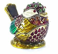 Bejeweled Mini Bird Pewter Trinket / Jewelry Box by Welforth - Purple and Green