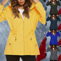 Women's Long Sleeve Hooded Wind Jacket Ladies Outdoor Waterproof Rain Coat Plus