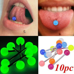 10 PCS Colorful Steel Bar Tongue Rings Body Piercing Jewelry Tounge Bars Summer